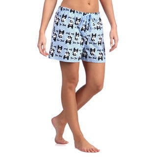 Leisureland Women's Bow Bow Dog Cotton Flannel Boxer Shorts