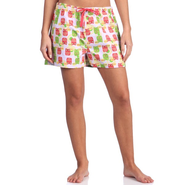 Women's Printed Cotton Flannel Pajama Boxer Shorts