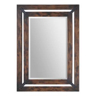 'Maverick' Rectangular Aged Wood Frame Mirror