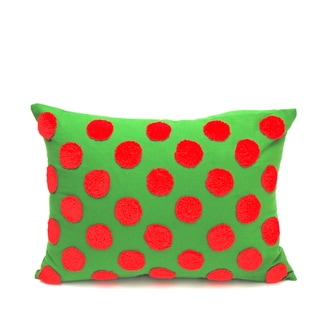 Simple Fun Red and Green Down Fill Accent Pillow