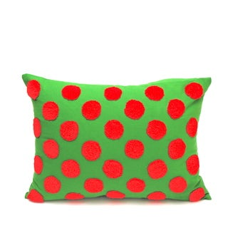 Simple Fun Red and Green Feather Filled Accent Pillow