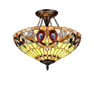 Bronze Tiffany-style Victorian Design 2-light Flush