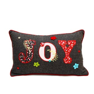 Grey 'Joy' Poly-filled Accent Pillow