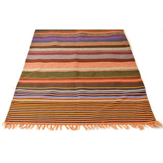 Handwoven 3 x 5-foot Savanna Striped Rug (India)