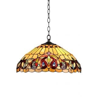 Bronze Tiffany-style Victorian-design 2-light Pendant