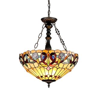 Tiffany-style Victorian-design 3-light Inverted Pendant