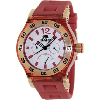 RAPP Men's Pink Naples RP1041 Red Polyurethane Quartz Watch with White Dial