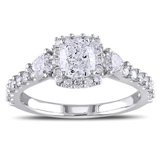 Miadora Signature Collection 14k White Gold 1 3/8ct TDW Cushion Cut Diamond Ring (G-H, I1-I2)