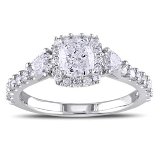 Miadora 14k White Gold 1 3/8ct TDW Cushion Cut Diamond Ring (G-H, I1-I2)
