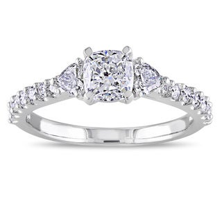 Miadora 14k White Gold 1 1/4ct TDW Cushion Center Diamond Ring (G-H, I1-I2)