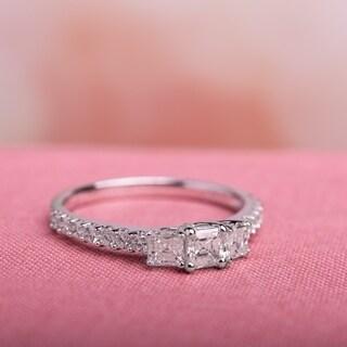 Miadora 14k White Gold 1ct TDW Asscher Cut Diamond Ring (G-H, VS1-VS2)