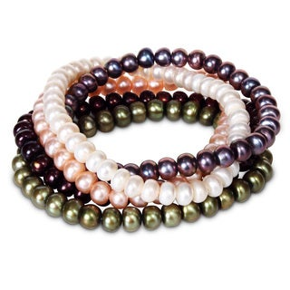 Miadora Sterling Silver 5-piece Multi-color Pearl Bracelets (6-7 mm) with Bonus Earrings