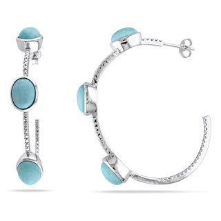 Miadora Sterling Silver Turquoise Hoop Earrings
