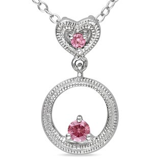 Miadora Sterling Silver 1/6ct TDW Pink Diamond Circle and Heart Necklace (I1-I2)