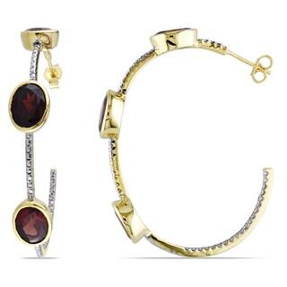 Miadora Yellowplated Silver Garnet Hoop Earrings