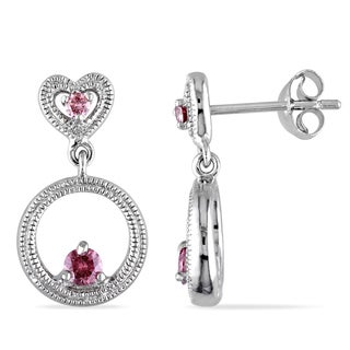 Miadora Sterling Silver 1/4ct TDW Pink Diamond Heart and Circle Earrings (I1-I2)