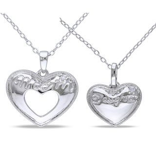 Haylee Jewels Sterling Silver Diamond 'Mom and Daughter' Heart Necklace (G-H, I1-I2) (Set of 2)