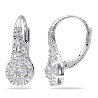 Sterling Silver 1/4ct TDW Diamond Halo Leverback Earrings (H-I, I2-I3)