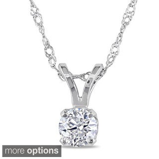 14k Gold 1/4ct TDW Diamond Solitaire Pendant