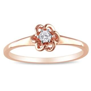 Haylee Jewels Rose Silver 1/10ct TDW Diamond Flower Ring (H-I, I2-I3)