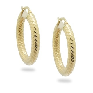 Gioelli Gioelli 14k Yellow Gold Snakeskin Oval Hoop Earrings