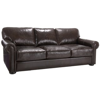 Brompton Cocoa Brown Italian Leather Oversize Sofa
