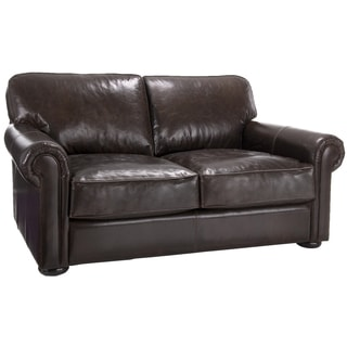 Brompton Cocoa Brown Italian Leather Oversize Loveseat