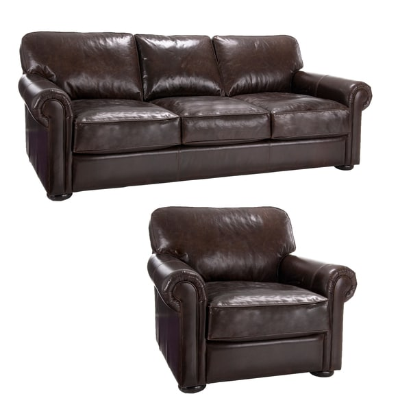 Brompton Cocoa Brown Italian Leather Oversize Sofa and Chair