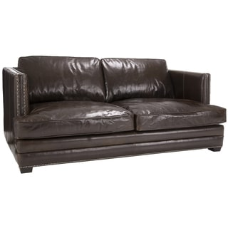 Jake Cocoa Brompton Brown Italian Leather Oversize Loveseat