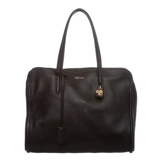 Alexander McQueen Black Leather Skull Padlock Zip-around Tote