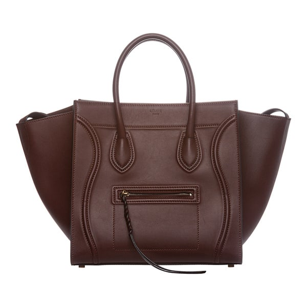 Celine 'Phantom' Medium Burgundy Leather Luggage Tote
