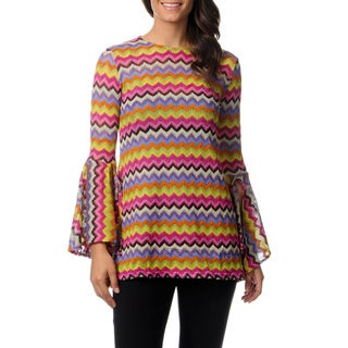 Mechant Women's Zig Zag Bell Sleeve Tunic