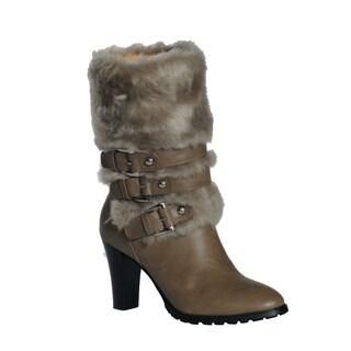 DimeCity Women's 'Telluride' Buckle Heels Faux Fur Boots
