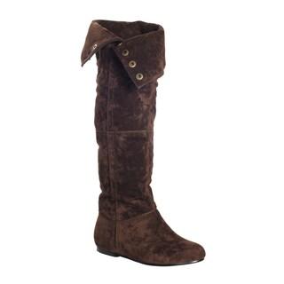 DimeCity Women's 'Marion' Flat Heels Leg Boots