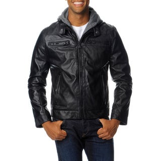 Mens Rogue State Faux Leather Jacket with Removable Hood and Bib