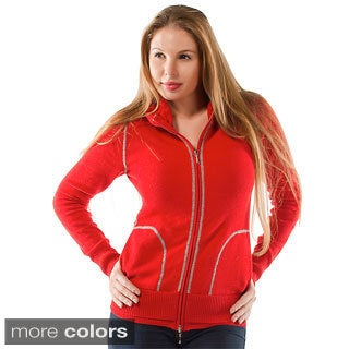 Italian Made Cashmere Luigi Baldo Women's Sporty Full-zip Sweater