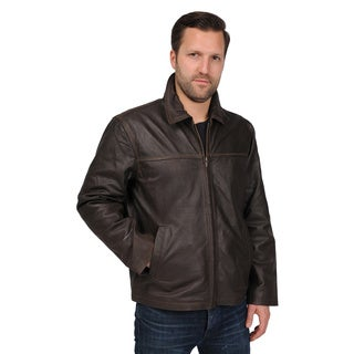 R&O Men's Leather Rugged Open Bottom Jacket