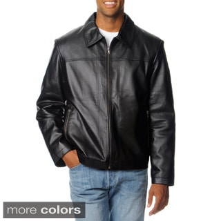 R&O Men's Big and Tall Zip Pocket Lamb Leather Jacket