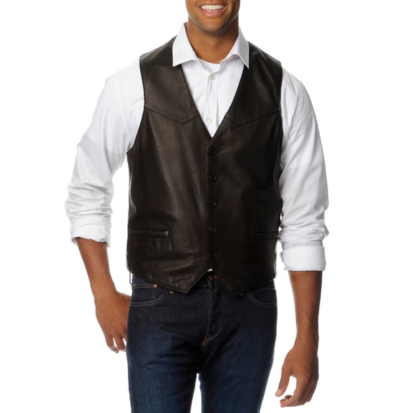 Excelled Men's Big and Tall Leather Vest