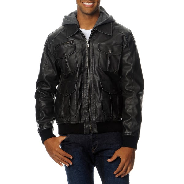 R&O Men's Faux Leather Jacket with Hood and Bib