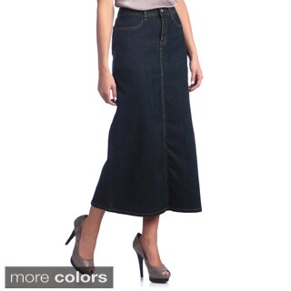 Tabeez Women's Stretch Denim Long Skirt