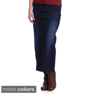 Tabeez Women's Plus Size Stretch Denim Long Skirt