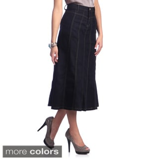 Tabeez Women's Paneled Denim Stretch Skirt