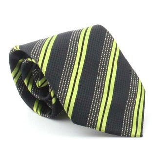 Ferrecci Men's Black/ Green Lines Necktie and Cuff Links Boxed Set