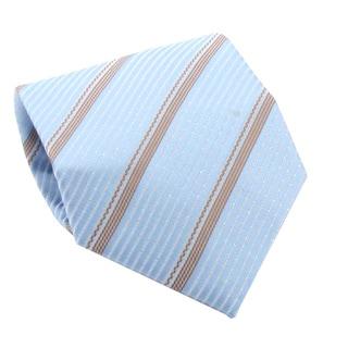 Ferrecci Men's Light Blue/ Khaki Stripes Necktie and Cuff Links Boxed Set