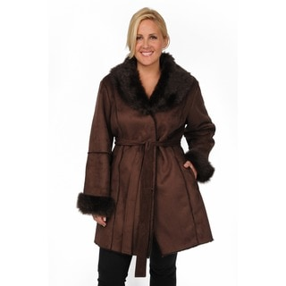 EXcelled Women's Plus Size Shearling Belted Coat