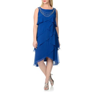 S.L Fashions Women's Plus Size Electric Blue Multi-tiered Cocktail Dress