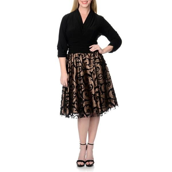 S.L. Fashions Women's Plus Size Flocked Lace Party Dress