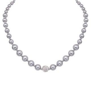 Pearlyta Sterling Silver Round Grey Shell Pearl and CZ Necklace