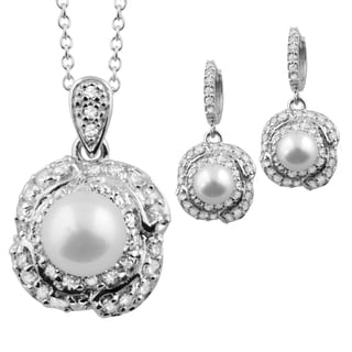 Sterling Silver White Freshwater Pearl and Cubic Zirconia Necklace and Butterfly Earrings Set